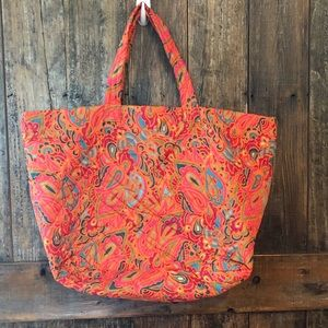 NWOT, Orange Paisley Fall Quilted Tote